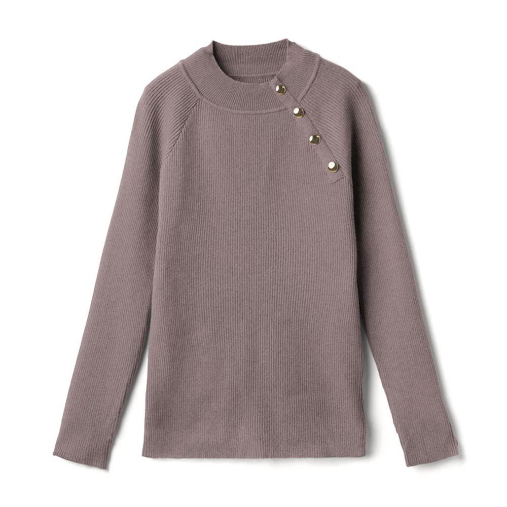 日本 GRL - 斜金屬排扣設計針織上衣-摩卡棕