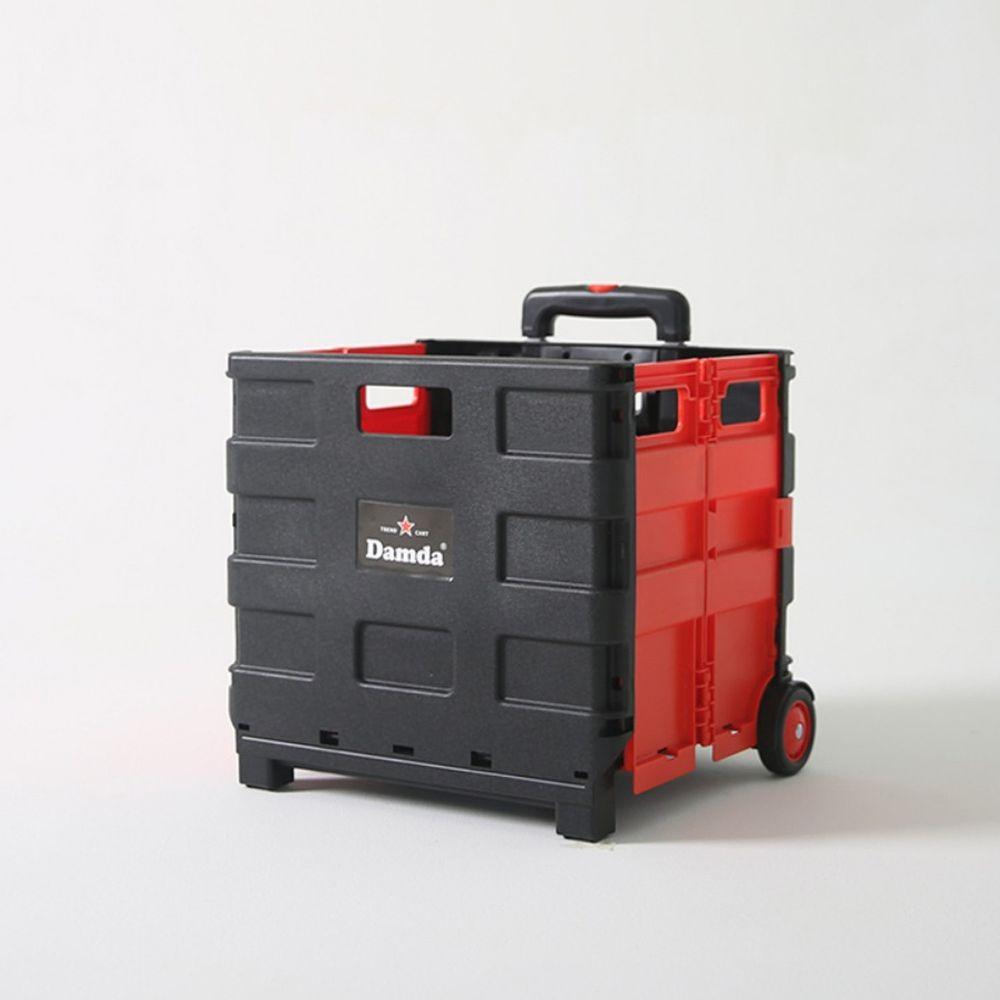 韓國 Damda - 折疊收納手拉車-中-黑/紅-尺寸:38X33cm, 容量41L