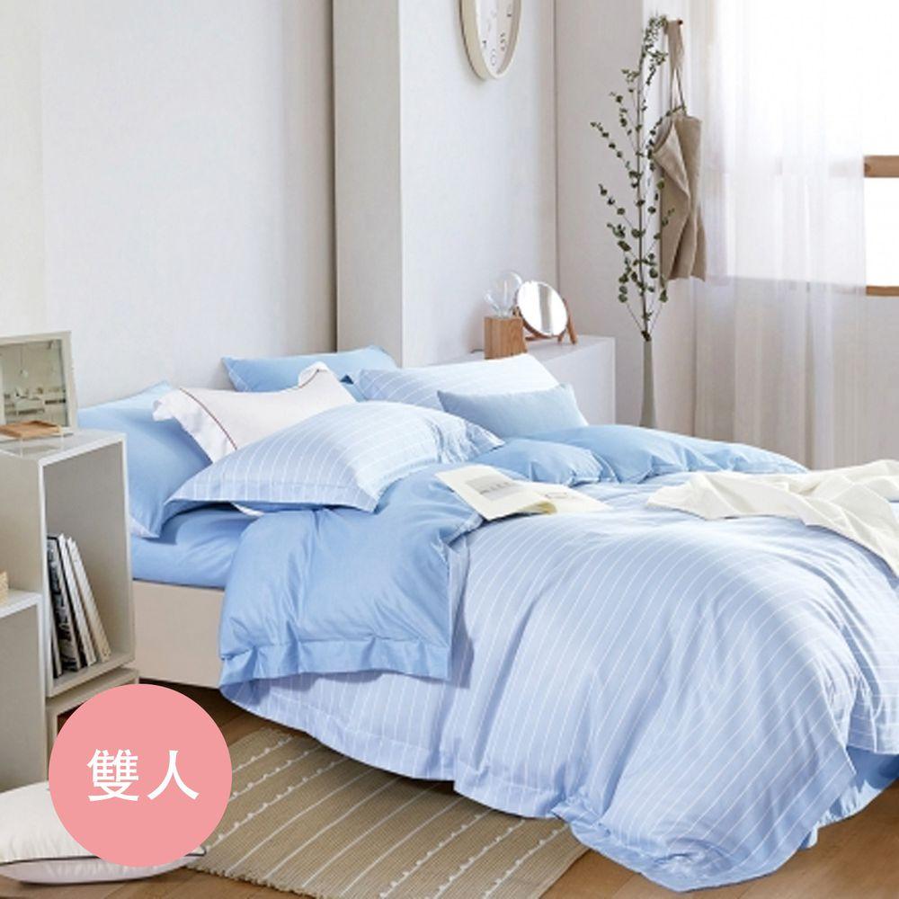 PureOne - 吸濕排汗天絲-波西米亞-藍-雙人床包枕套組(含床包*1+枕套*2)