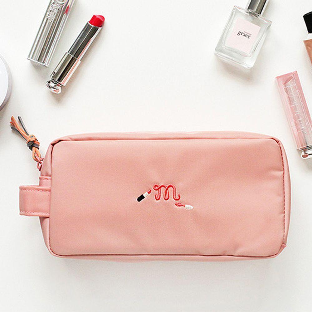韓國製 - 多分格化妝包-蜜桃粉 (20X10X7cm)