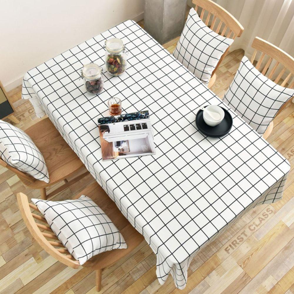 防水防油免洗桌布-簡約格紋-白色