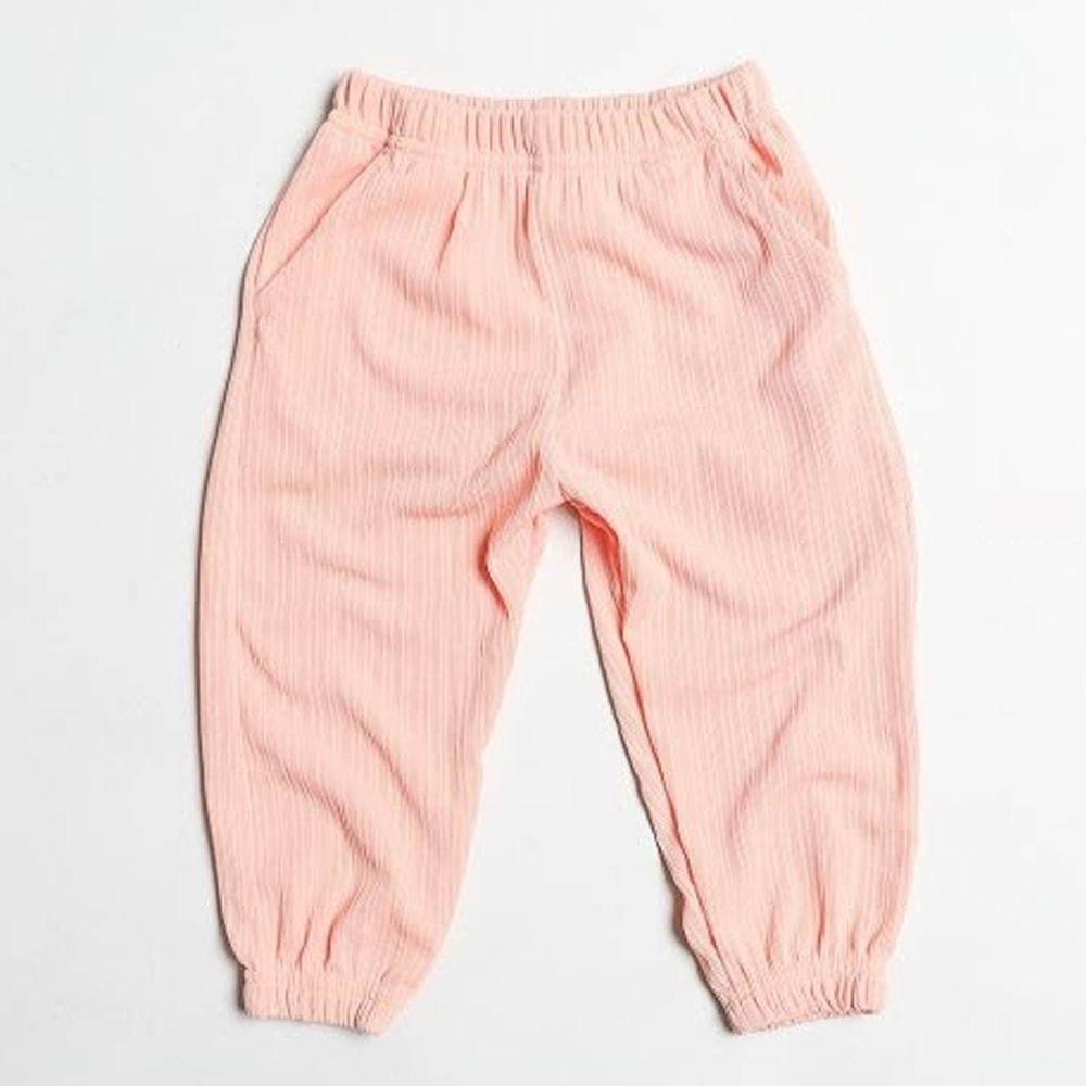 韓國製 - 涼感防曬防蚊縮口褲-淺粉紅