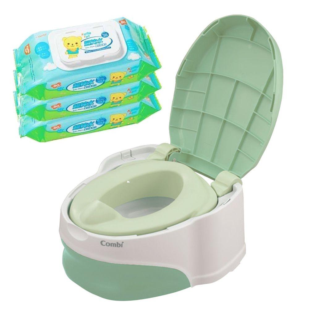 日本 Combi - 優質坐式分段訓練便器-綠雪松 (12個月起)-贈Kuma Kun超純水嬰兒柔濕巾80抽促銷組