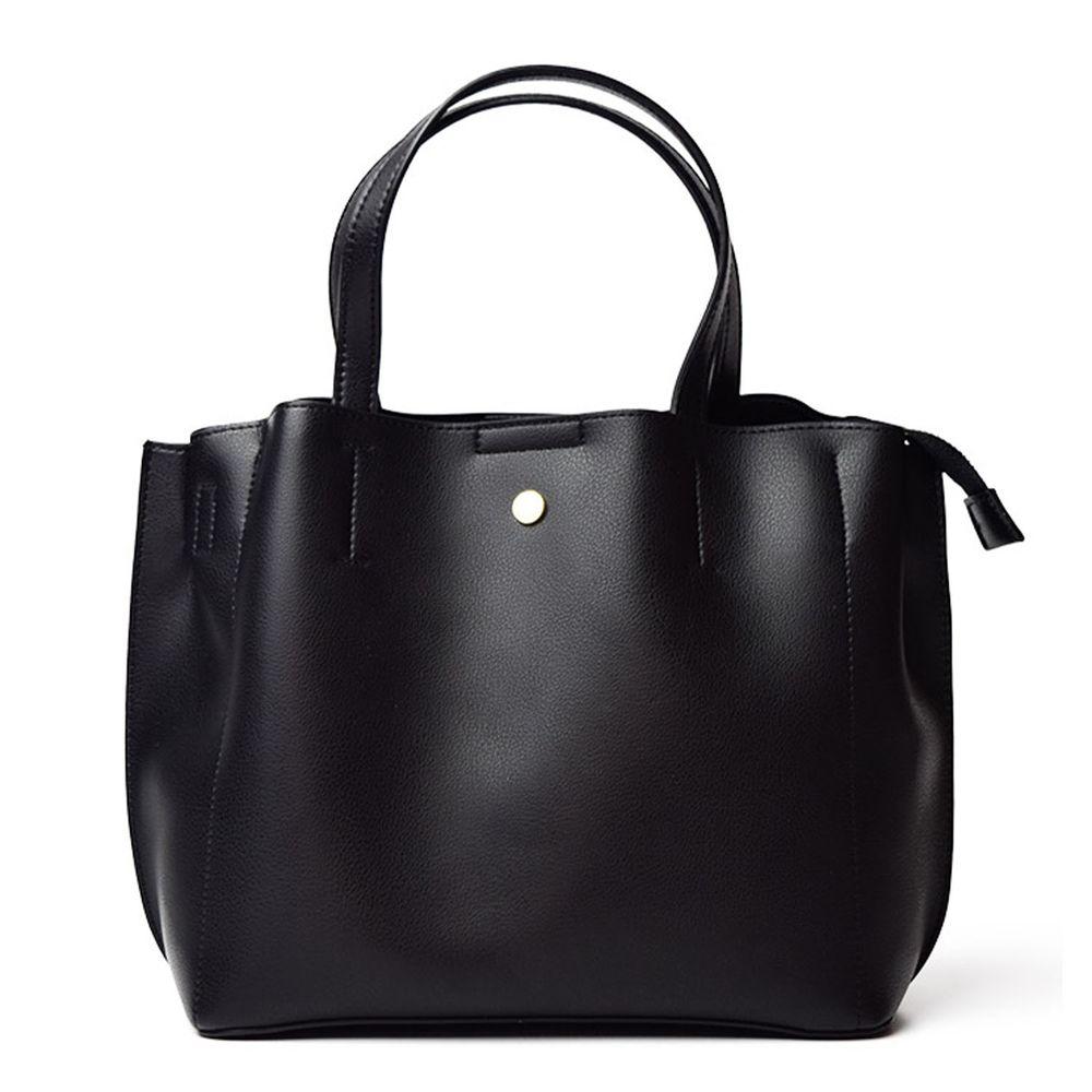 日本 Legato Largo - 輕量PU時尚大容量斜背肩背包-BK黑色 (21x32x13cm 肩背約88~122cm)-預購