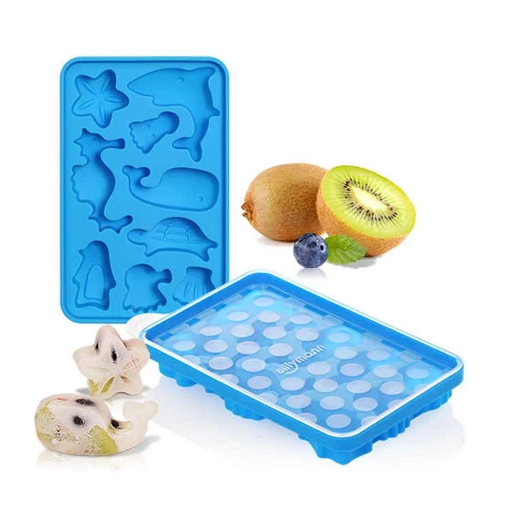 韓國 sillymann - 100%鉑金矽膠海洋動物分裝盒-藍
