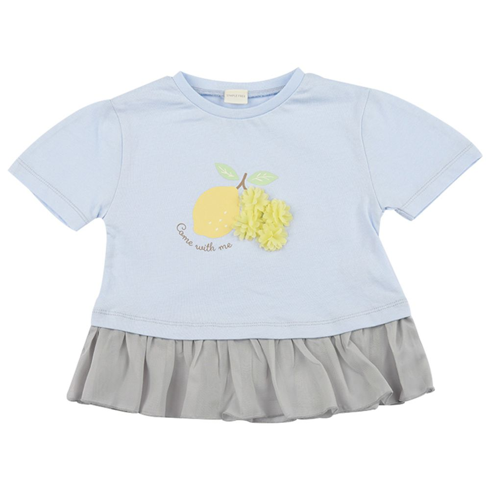 akachan honpo - 短袖趣味T恤 下擺拚接-淺藍色