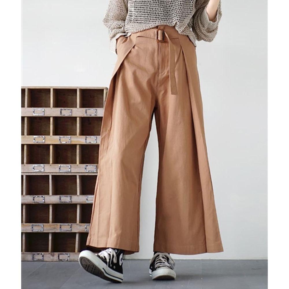 日本 zootie - 純棉率性設計感打褶腰帶寬褲-橘