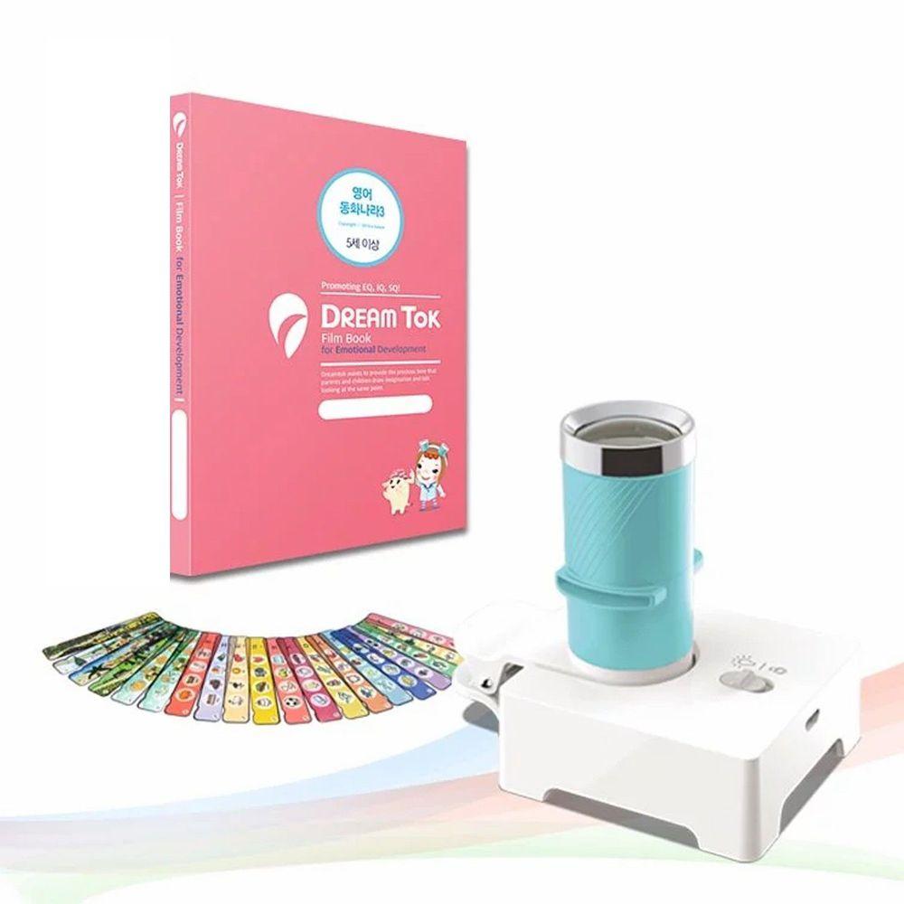 韓國 DreamTok - 童夢故事投影機-粉藍-主機1台+投影夾鏡1個+【限量加贈】幻燈片2套(英文遊戲1+四季認知)