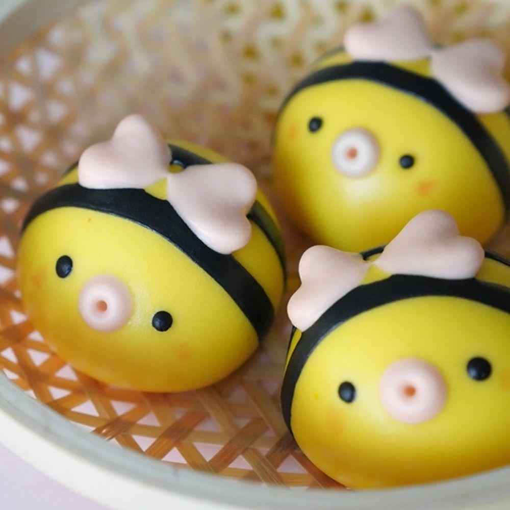 美姬饅頭 - 小蜜蜂造型果香口味奶黃包-6入-50g±5g/顆