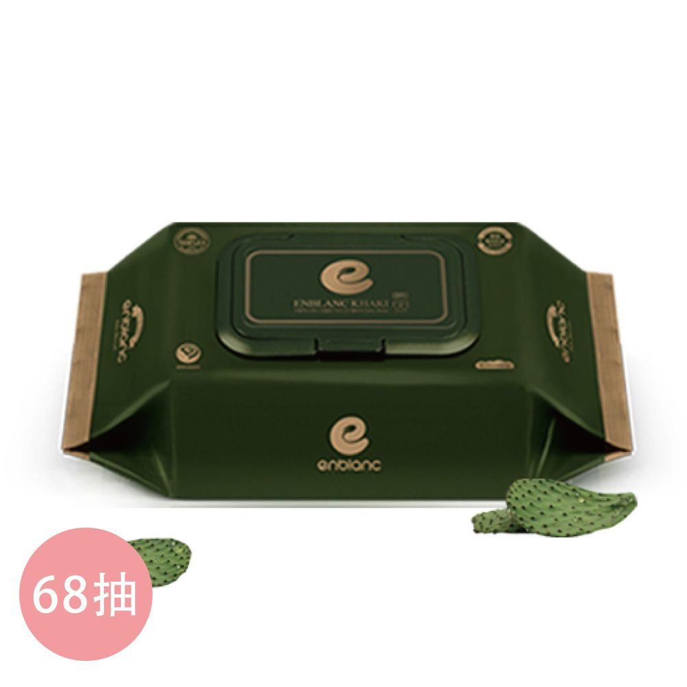 韓國 ENBLANC - 銀離子抗菌|極厚仙人掌新生兒專用極柔純水有蓋濕紙巾|68抽-有蓋大包-墨綠色-單包