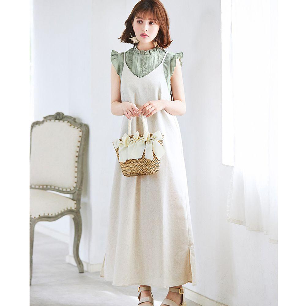 日本 GRL - 荷葉袖無袖上衣 X 細肩帶吊帶裙套裝-淺綠X米白