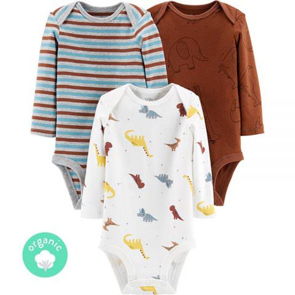 美國 Carter's - 嬰幼兒100%純棉長袖包屁衣三件組-可愛恐龍 (有機棉)