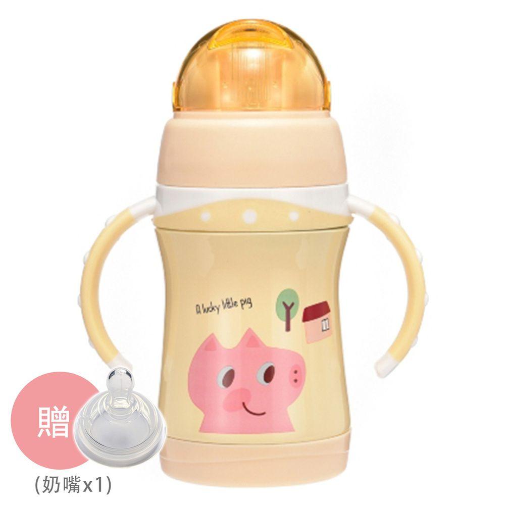 BABY TALK - 可愛動物不鏽鋼2用水杯-兒童水壺-㣲笑豬-鵝黃色 260ml-獨家贈替換奶嘴*1