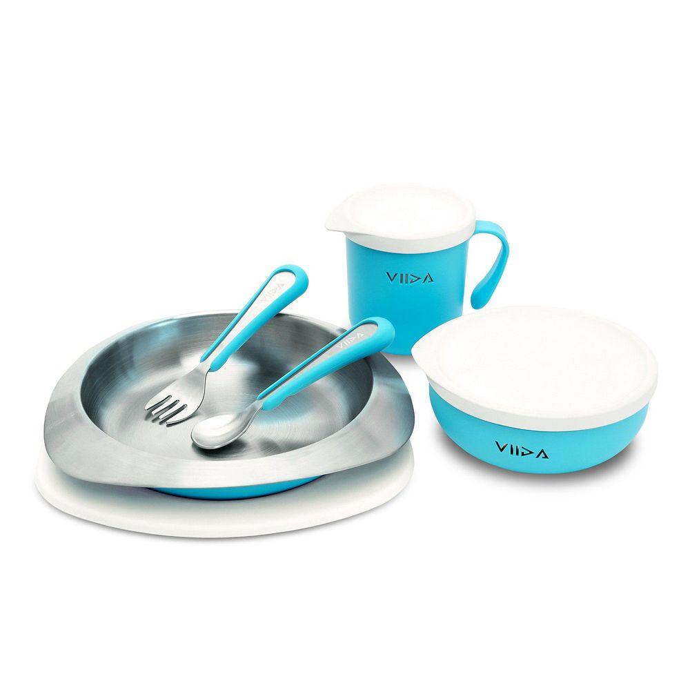 VIIDA - Soufflé抗菌不鏽鋼兒童餐具組-碗、盤、杯、叉子、湯匙-藍