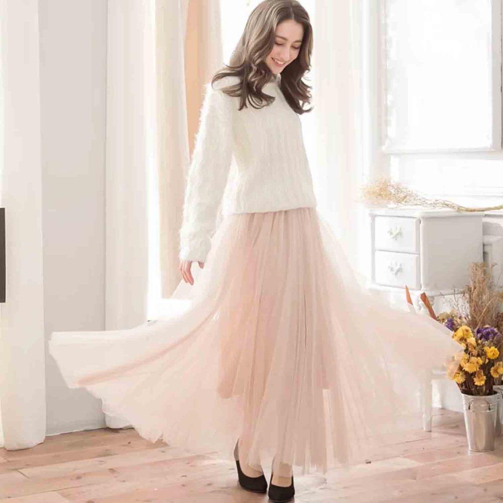Peachy - 獨家訂製綿柔法式浪漫三層蓬紗裙-三層蓬版-氣質杏 (F)