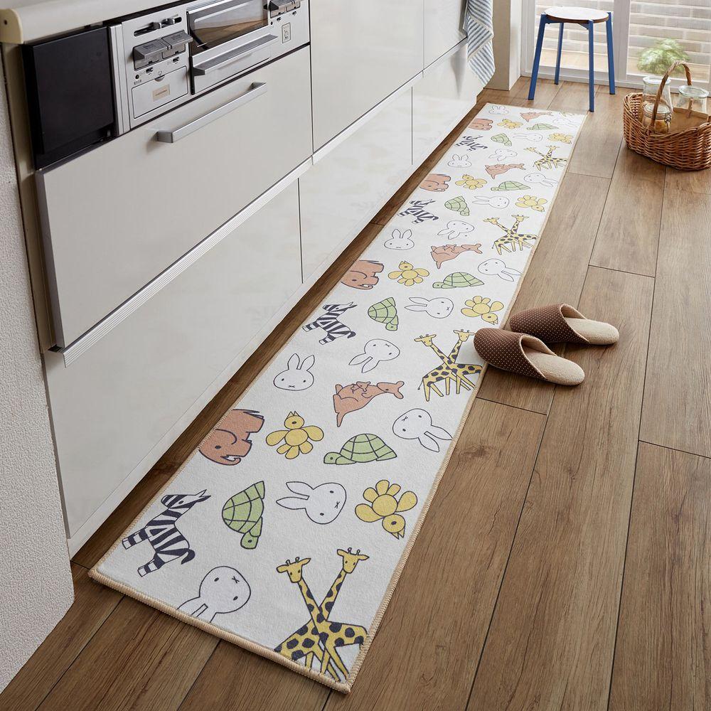 日本千趣會 - 米飛兔 長條型腳踏墊(廚房/臥室)-童趣動物插畫