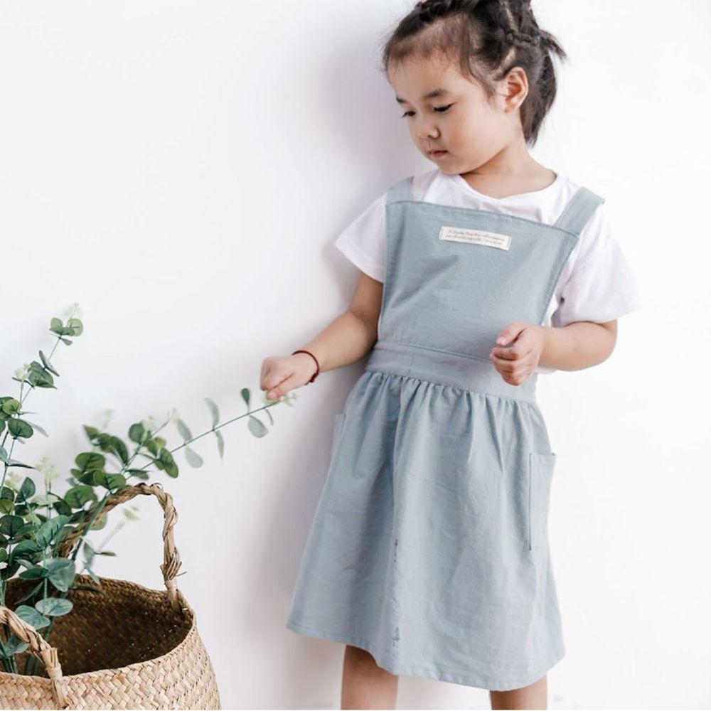 北歐文藝棉麻百褶圍裙-兒童款-淺綠色