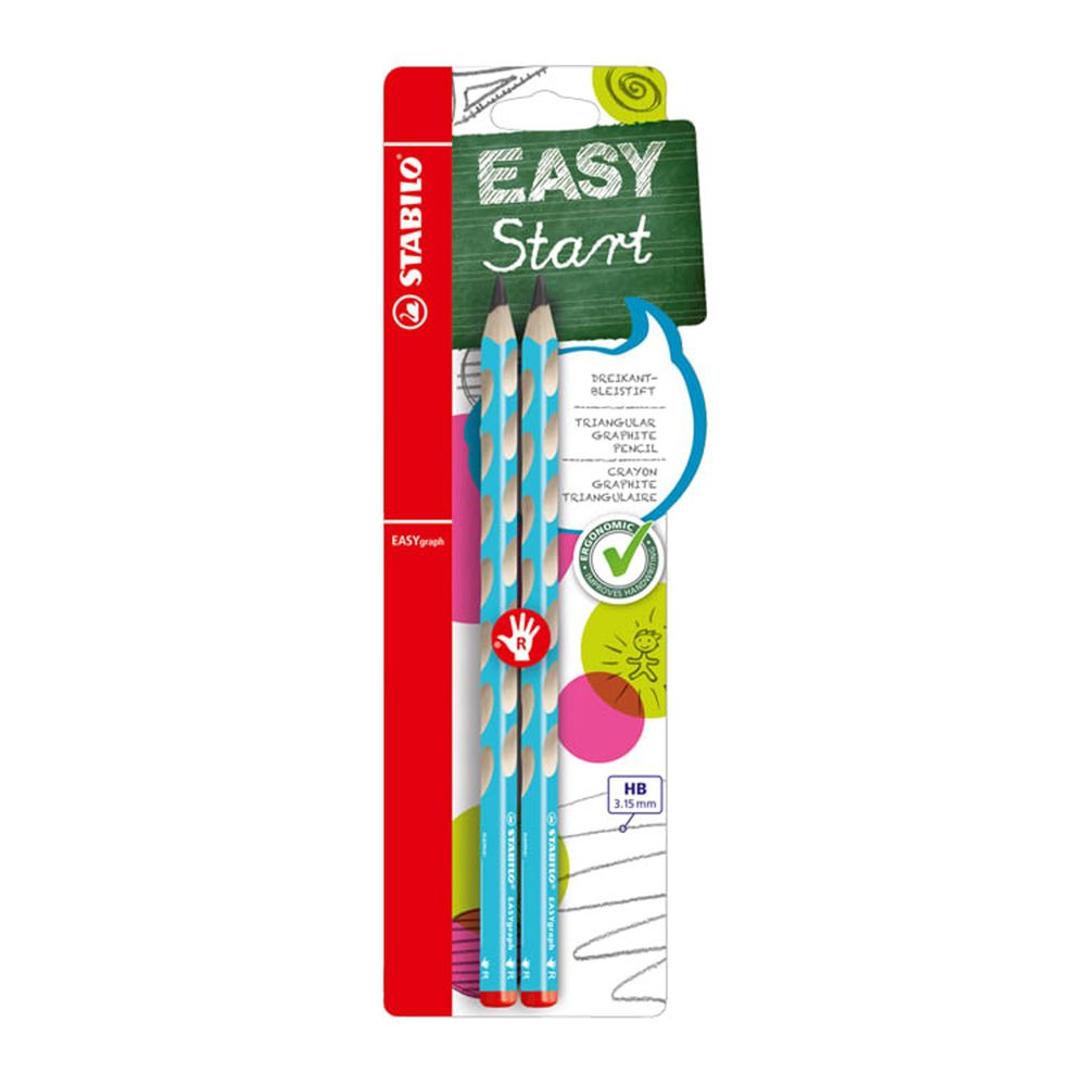 STABILO思筆樂 - EASYgraph 洞洞筆 鉛筆系列 HB 右手 淺藍色 2支入