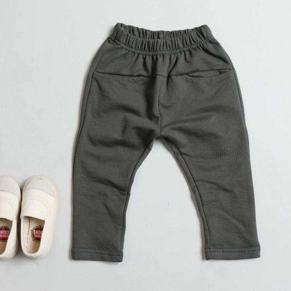 韓國 Dream Baby - 平口袋舒適哈倫褲-深灰