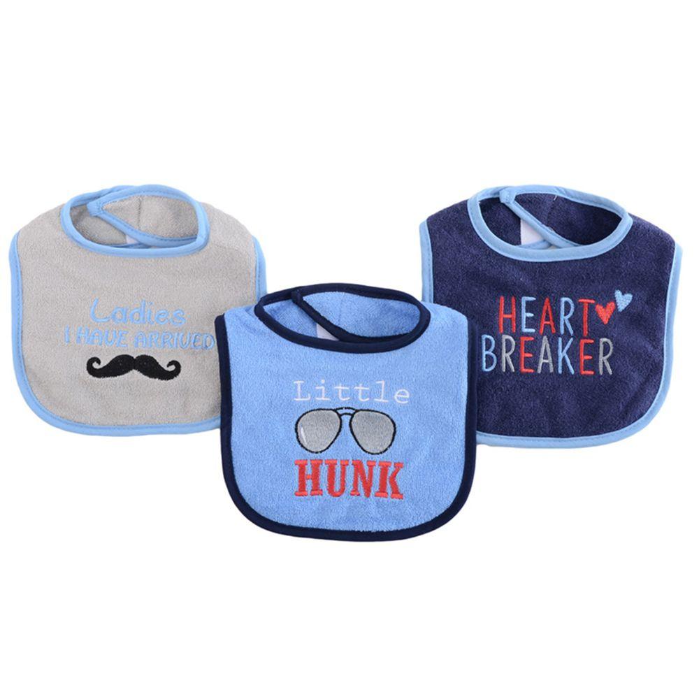 美國 Luvable Friends - 嬰幼兒雙層吸水口水巾圍兜3入組-男子漢