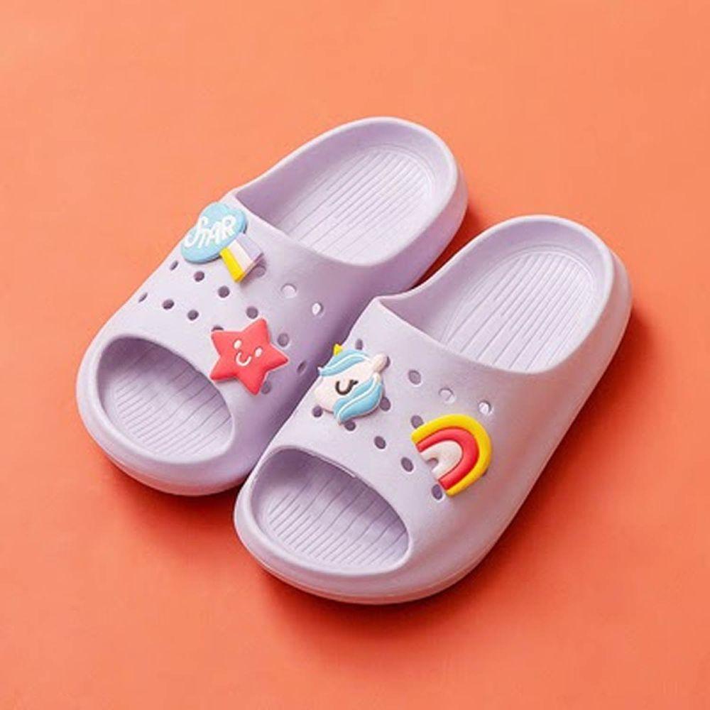 Cheerful Mario - 兒童洞洞拖鞋-淺紫