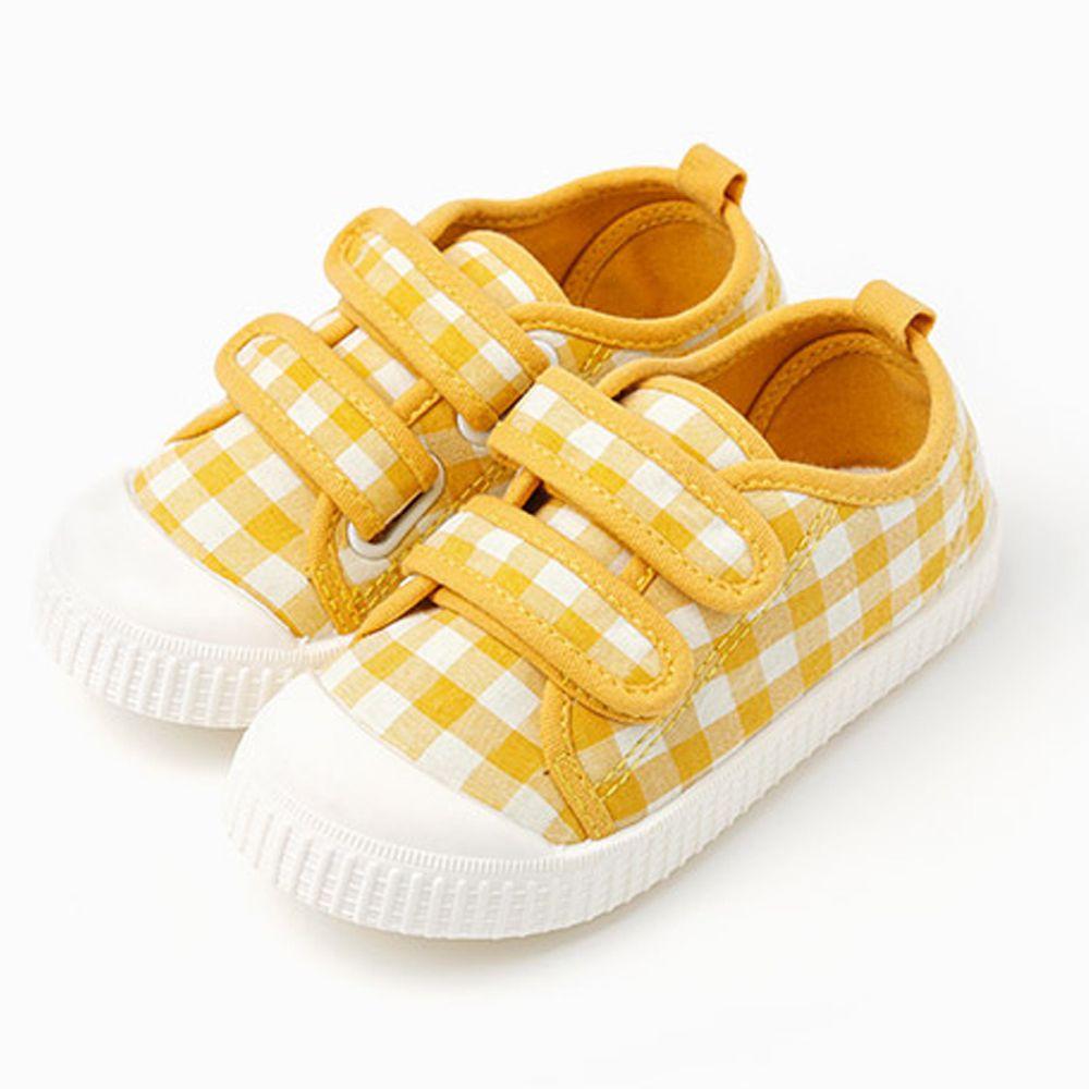 韓國 OZKIZ - 格子魔鬼氈兒童休閒鞋/室內鞋-黃