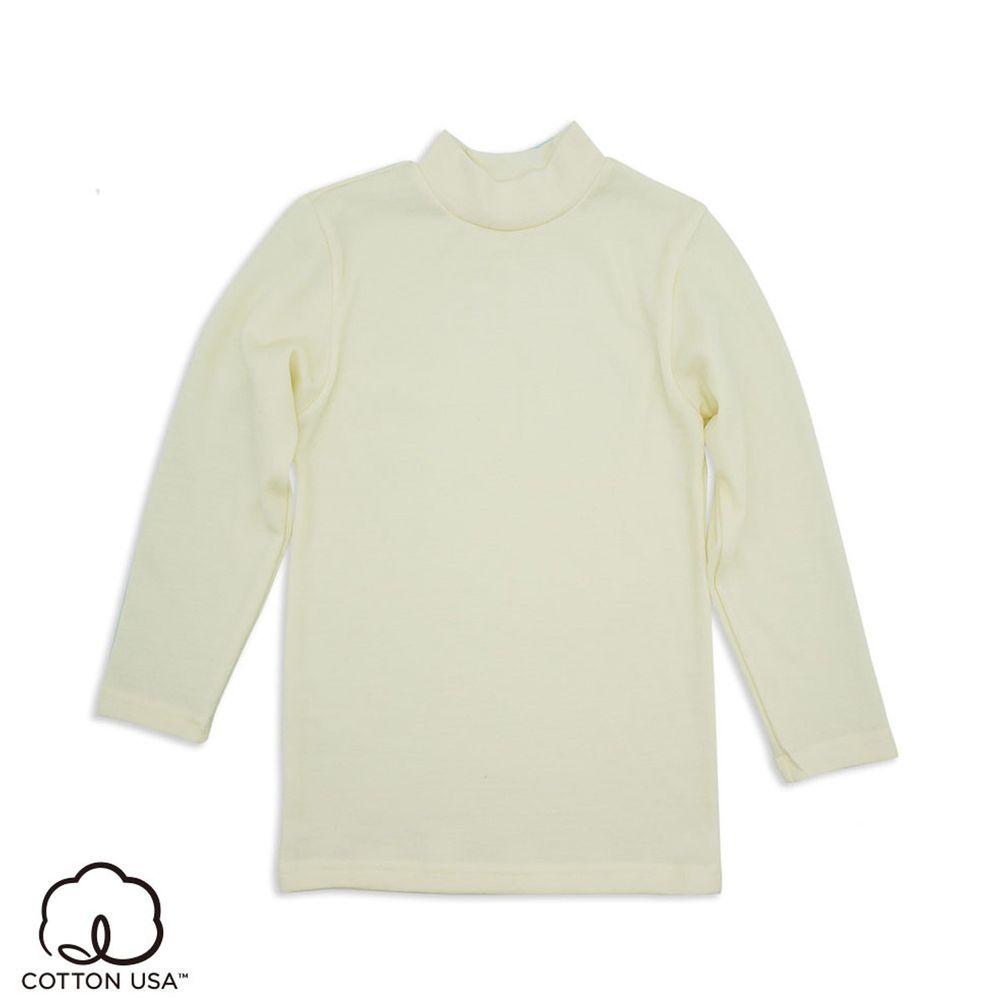 Annypepe - 兒童美麗諾羊毛親膚長袖內衣(裏棉外毛)-小立領-米白 (100-150cm)
