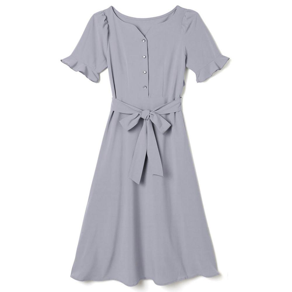 日本 GRL - 美背露腰蝴蝶結綁帶短袖洋裝-星塵藍