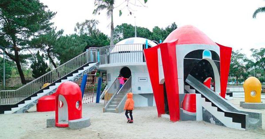 【台北親子景點】外星飛碟降落青年公園!太空城堡溜滑梯現身!