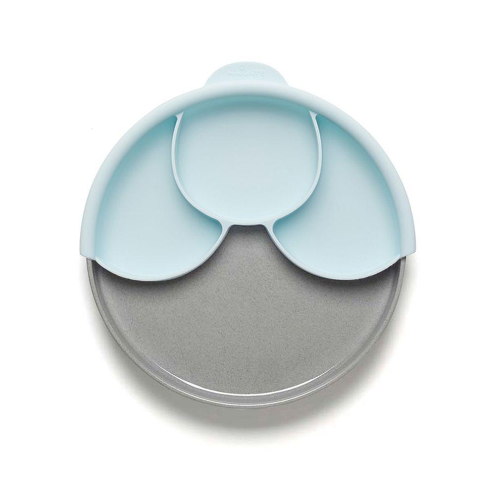 美國Miniware - 微兒天然寶貝用品系列-聰明分隔餐盤組-芝麻薄荷綠-竹纖維麵包盤*1 矽膠分隔盤*1 矽膠防滑吸盤*1