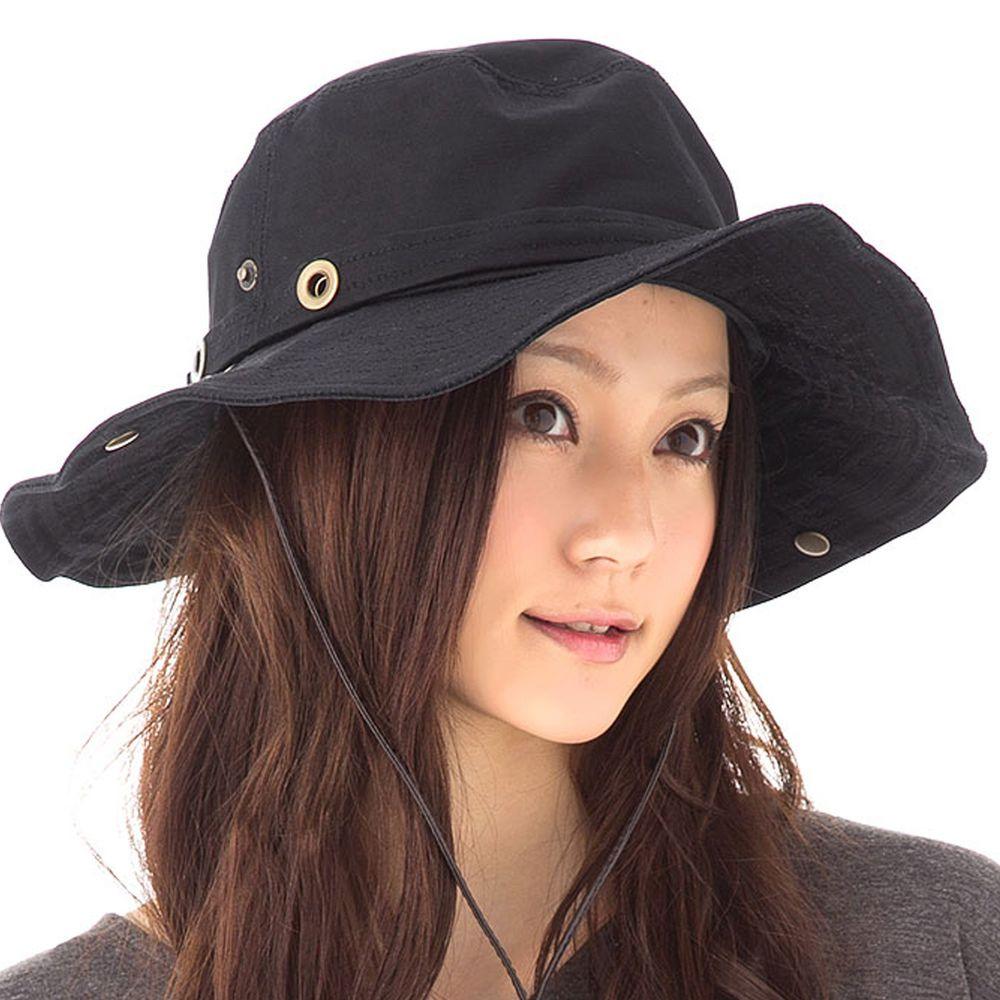 日本服飾代購 - 2way 抗UV探險風金屬釦遮陽帽(附防風帽帶)-經典黑-純棉