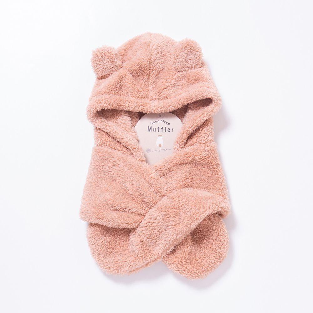 日本 Aube - 毛茸茸保暖熊耳圍脖帽(親子通用款)-粉紅 (Free size)