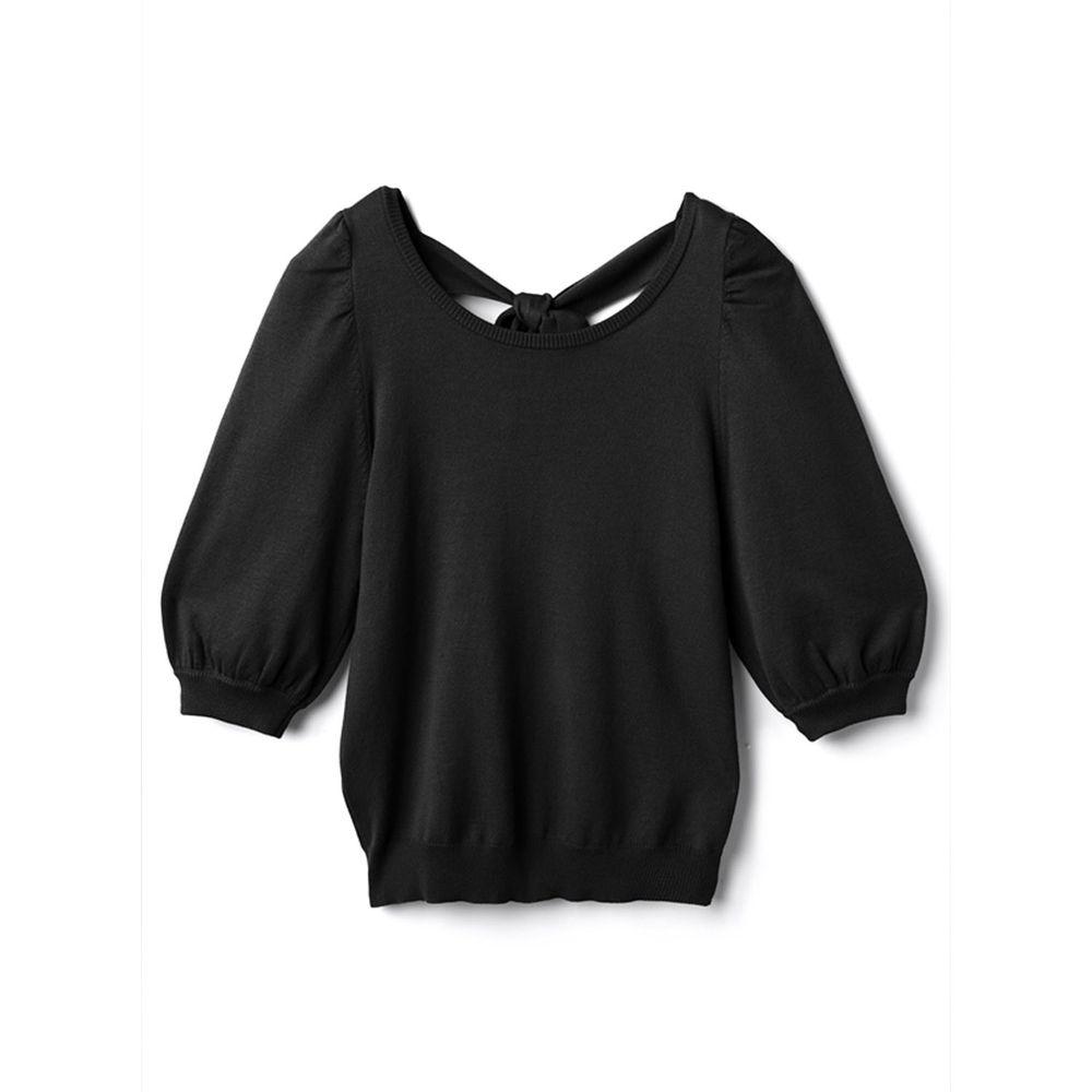 日本 GRL - 美背蝴蝶結綁帶針織五分袖上衣-時尚黑
