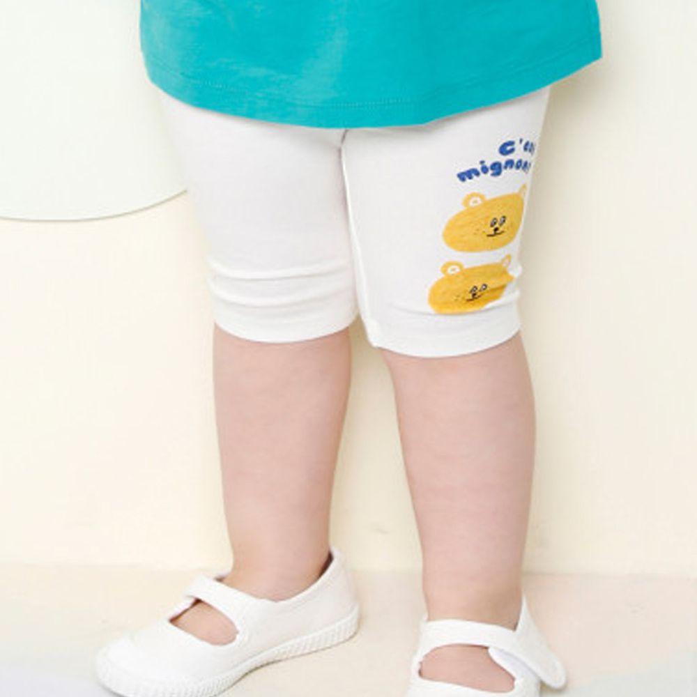 韓國 milk mile - 可愛熊熊5分內搭褲-象牙白
