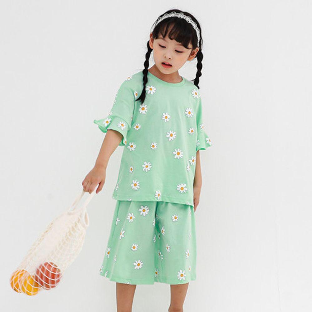 韓國 Ppippilong - 無螢光棉舒適寬版套裝-綠色花園