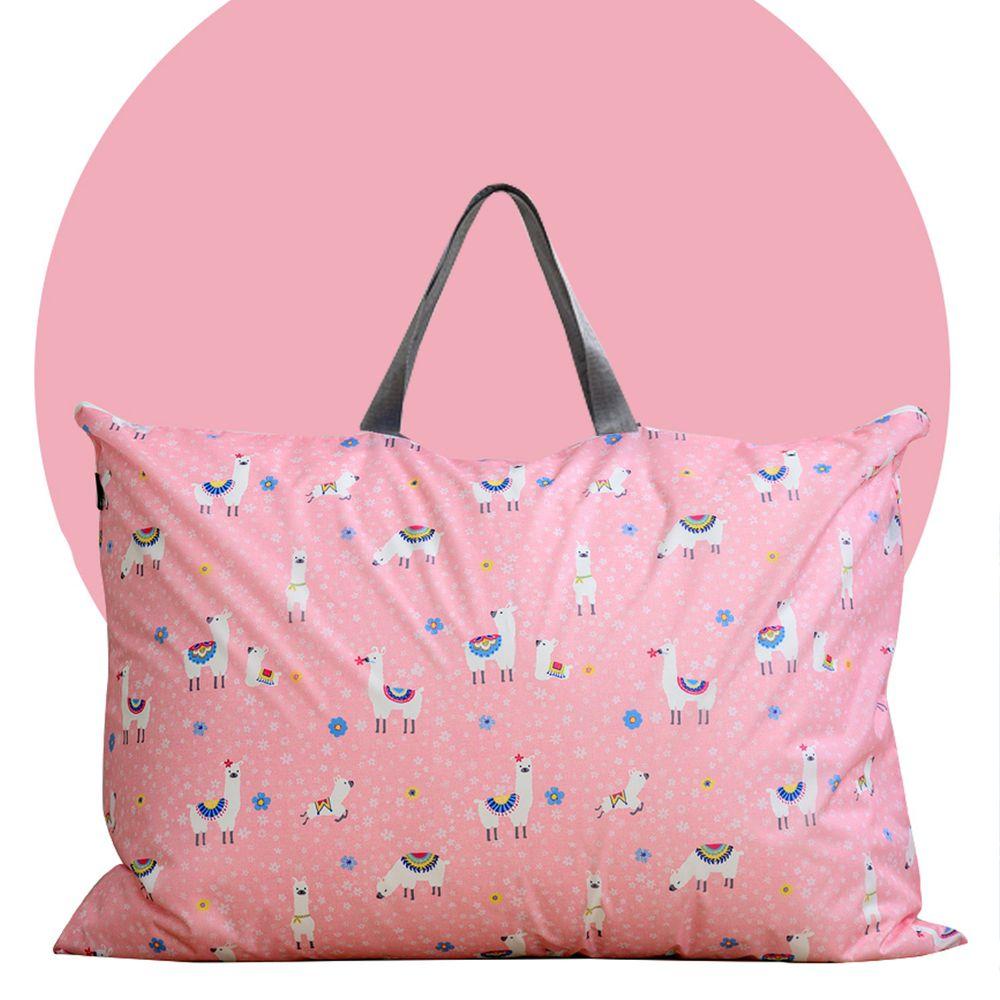 韓國 Formongde - 寬底防水睡袋收納袋-粉紅駱馬 (90X45X17)