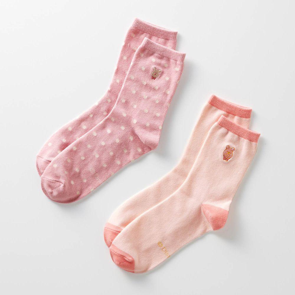 日本千趣會 - 迪士尼中筒襪兩件組-維尼-櫻花粉 (23-25)