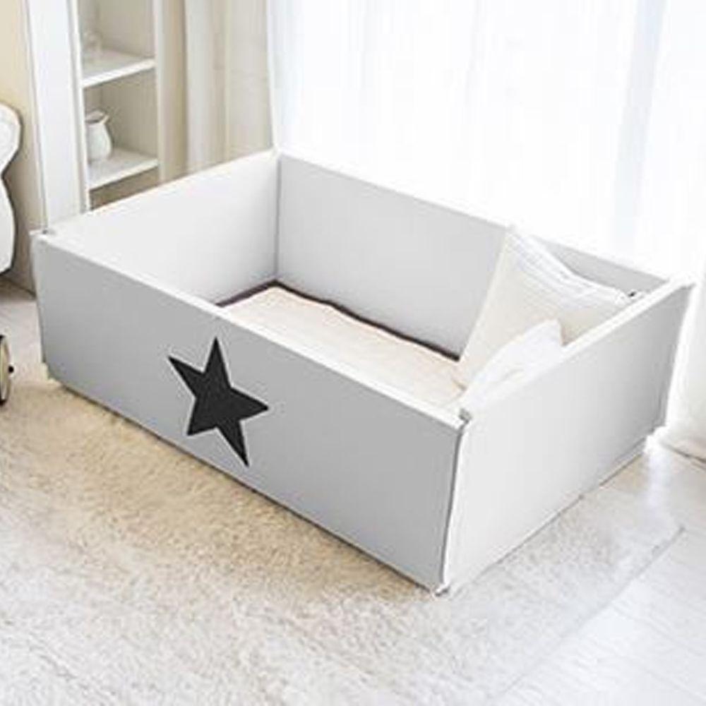 韓國 GGUMBI/DreamB - GGUMBI 多功能圍欄式地墊嬰兒床-灰星星