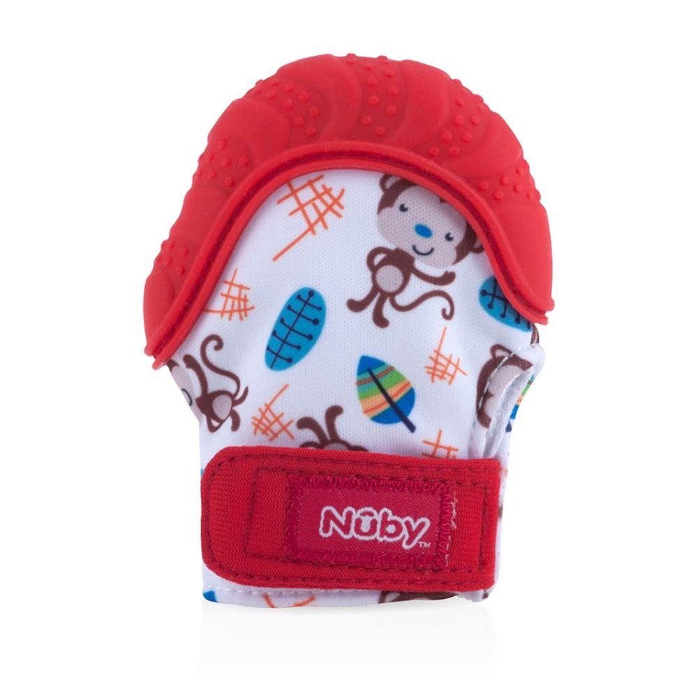 Nuby - 咬咬固齒手套(附收納袋)-紅
