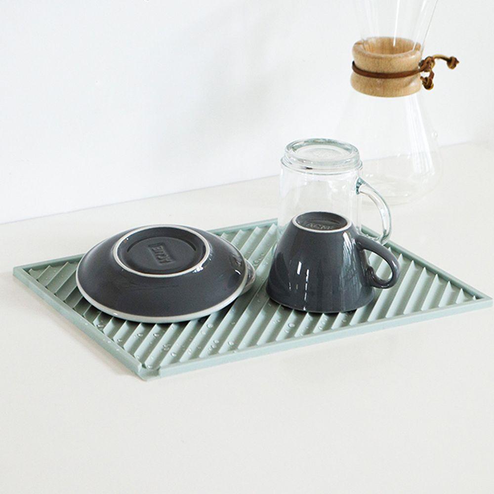 韓國 Daily Like - 矽膠瀝水板-方形綠 (長31.8cm, 寬23.3cm)