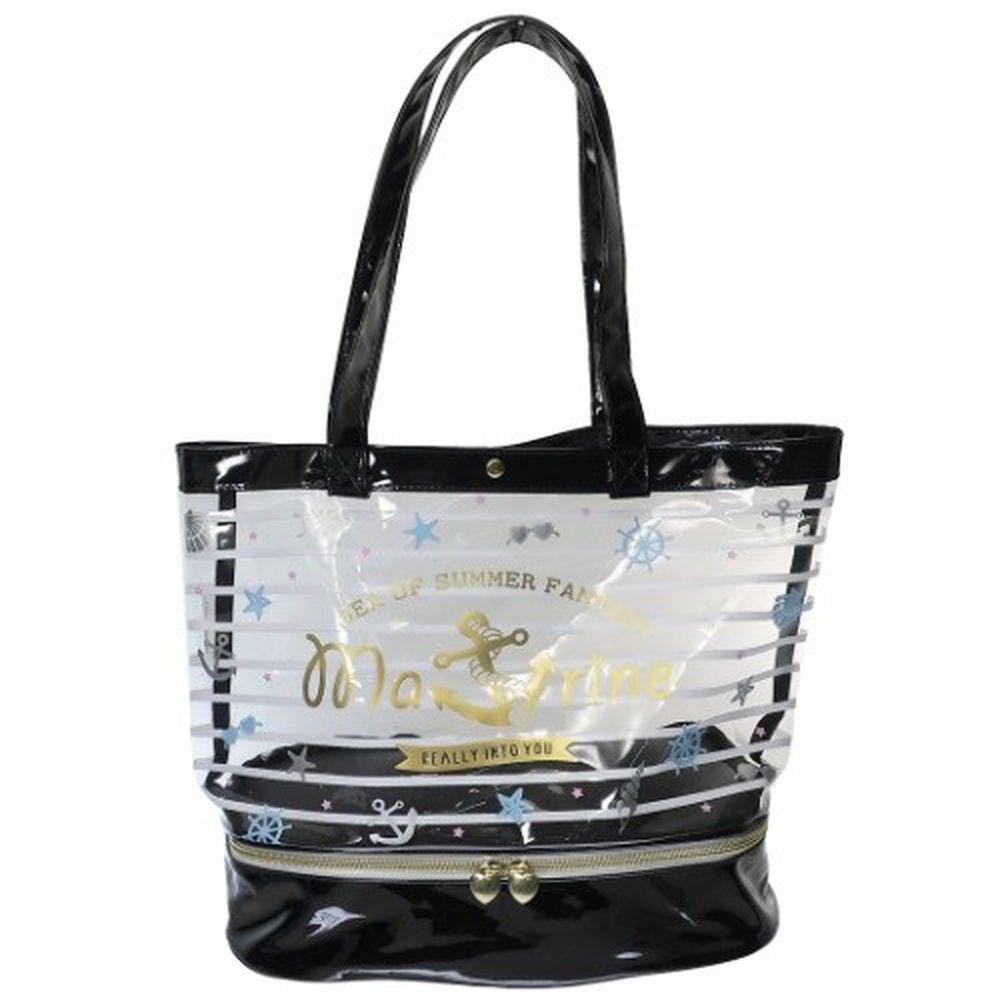 日本服飾代購 - 上下分層透明PVC肩背包-水手條紋-黑