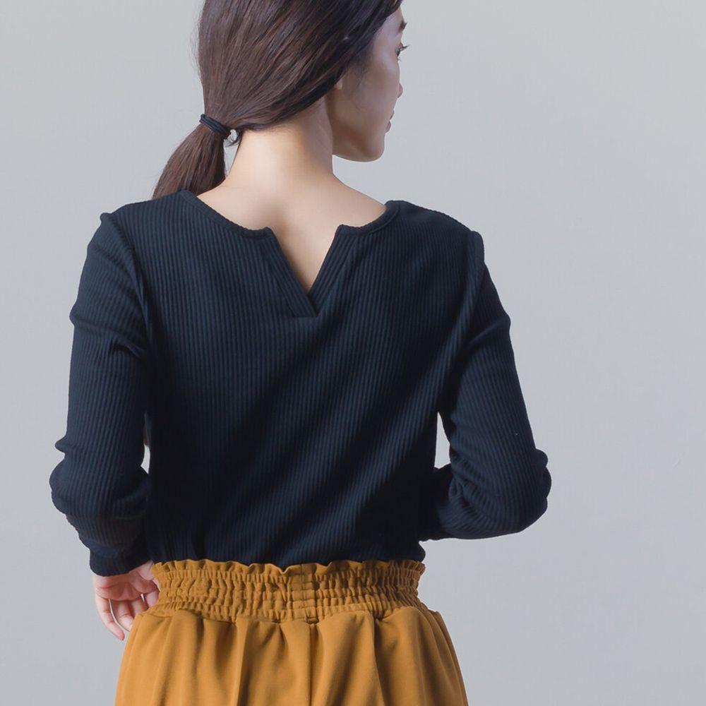 日本女裝代購 - 美背後V領純棉針織長袖上衣-時尚黑 (Free size)