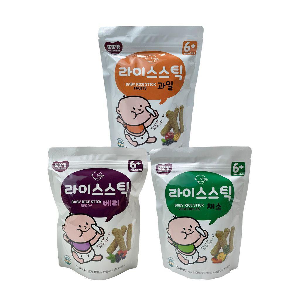 韓爸田園日記 - 手指米棒-綜合3入(莓果/水果/蔬菜)-1包/20公克