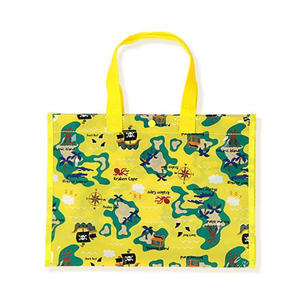 日本 ZOOLAND - 防水PVC手提袋/游泳包-D海盜地圖-黃 (25x34x11cm)