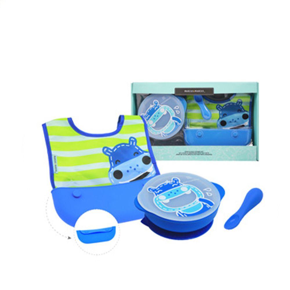 MARCUS&MARCUS - 動物樂園自主用餐學習禮盒組-藍河馬