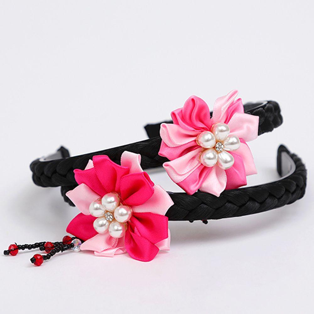 韓國 OZKIZ - 韓服花朵髮箍-珍珠紅花