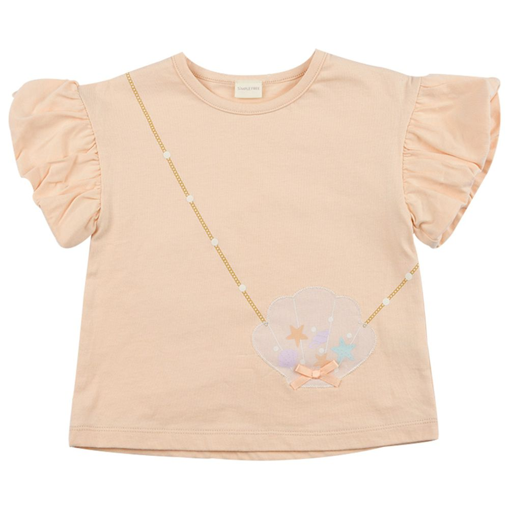 akachan honpo - 短袖趣味T恤 下擺拚接-橘色