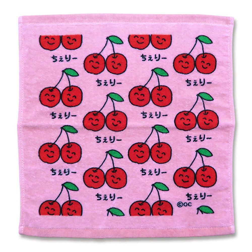 日本 OKUTANI - 童趣插畫方巾/手帕-櫻桃-粉