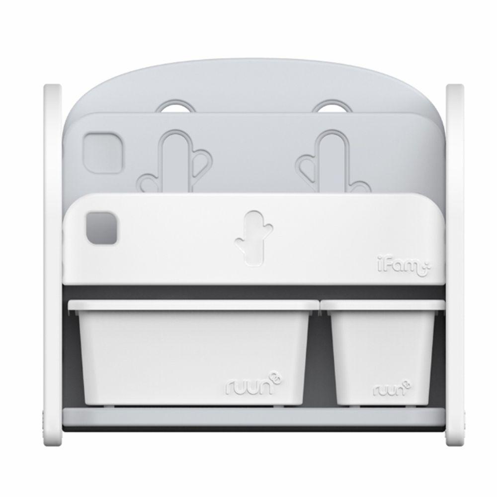 韓國 iFam - 書架收納組 〈附白色收納盒x2〉-白色