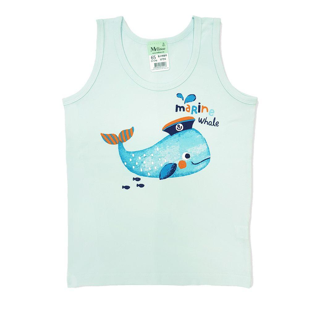 韓國 Mellisse - 純棉小背心(男寶)-藍色鯨魚